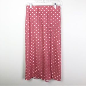 Show Me Your Mumu Polka Dot Midi Skirt Pink Small